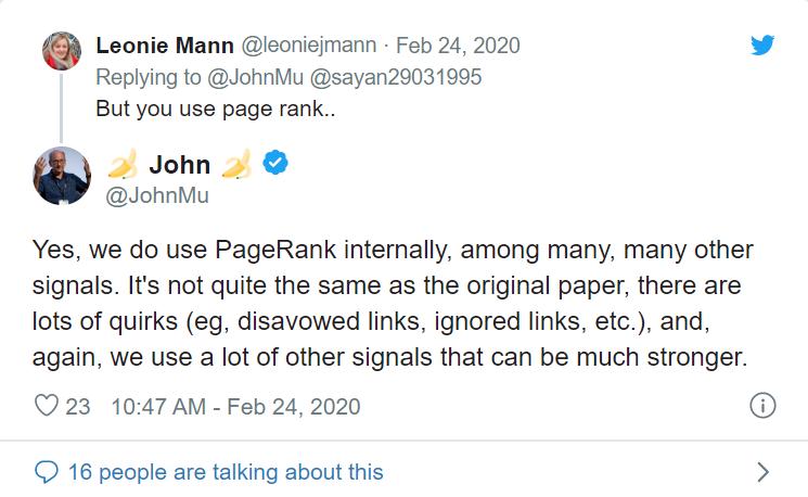 Tweet from John Mueller