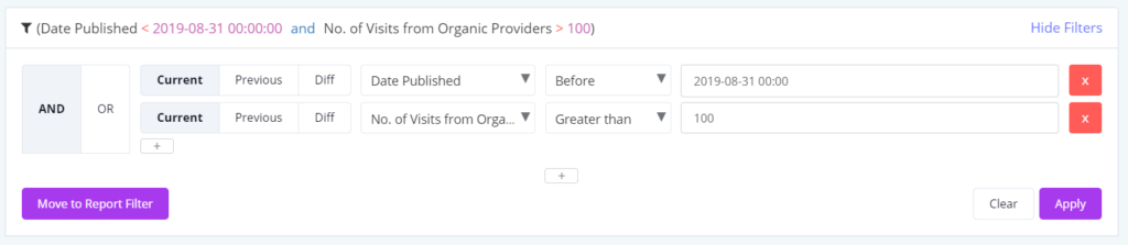 date published and visitors filters in Botify