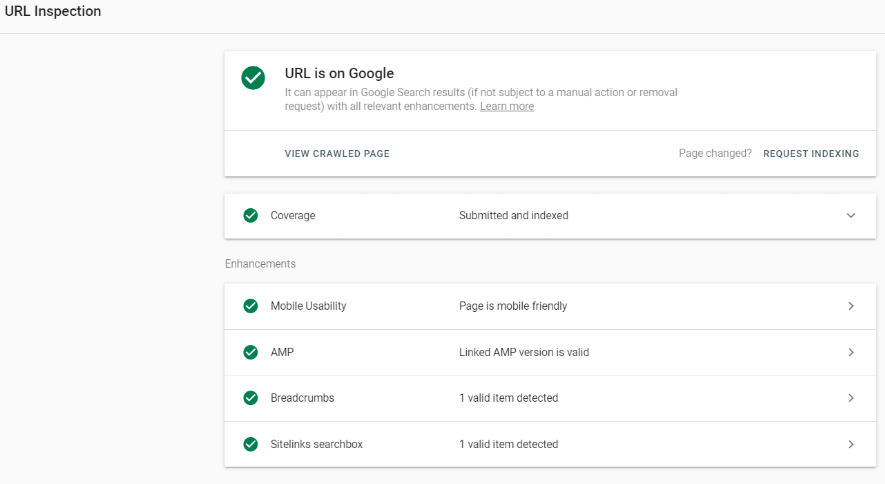 URL inspect in Google Search Console